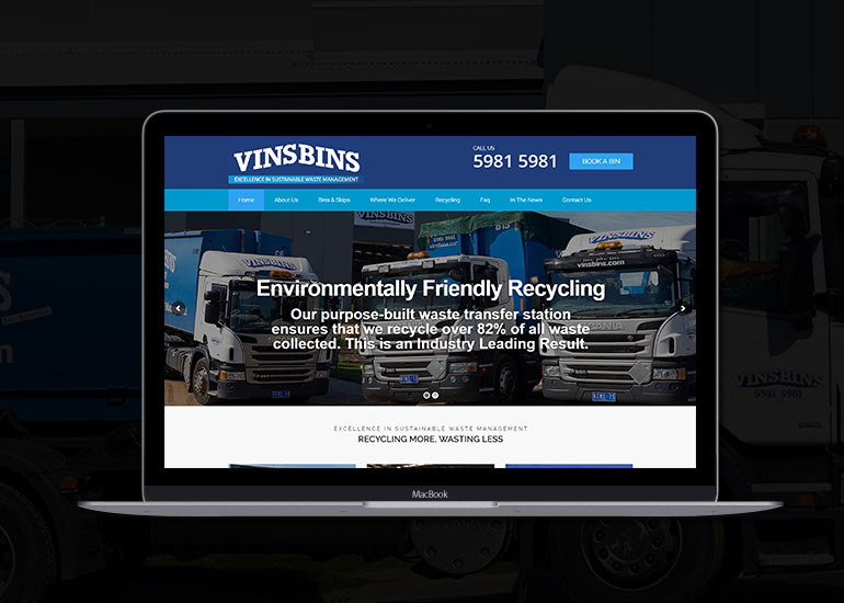 VinsBins Mornington Peninsula Website Design